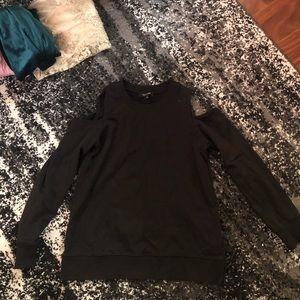 Black cold shoulder pullover sweatshirt